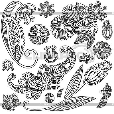 꽃 장식 디자인의 집합   벡터 클립 아트  ID 3093745