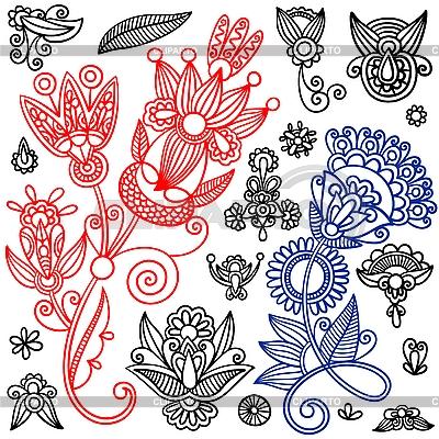 Zestaw kwiatowych wzorów zdobniczych | Klipart wektorowy |ID 3094232