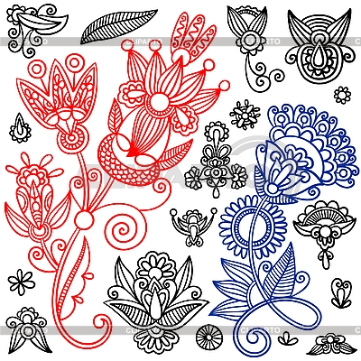 Set von ornamentalen Blumenmustern | Stock Vektorgrafik |ID 3094232