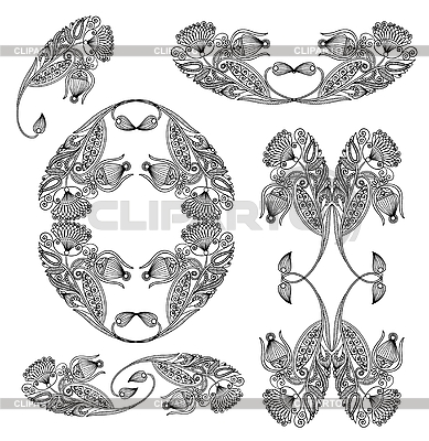 Set of flower ornamental designs | Stock Vector Graphics |ID 3094236