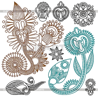 Elementos de ornamentos florales serie de im genes de for Diseno de plantas ornamentales