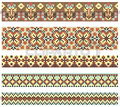 Haftowane ukraińskie etniczne wzory haftu krzyżykowego   Klipart wektorowy  ID 3094501