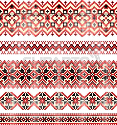 Embroidered ethnic Ukrainian cross-stitch patterns | Stock Vector Graphics |ID 3094505
