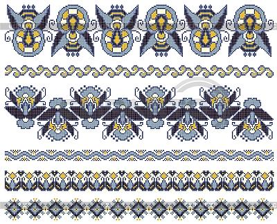 Haftowane ukraińskie etniczne wzory haftu krzyżykowego | Klipart wektorowy |ID 3094507
