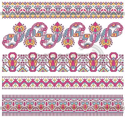 Kolekcja ukraińskich krajowymi ozdoby haftowane   Klipart wektorowy  ID 3094697