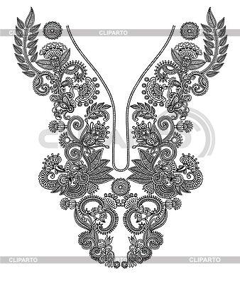 네클라인 자수 디자인 | 벡터 클립 아트 |ID 3094737