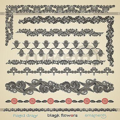 Black flower ornaments  | Stock Vector Graphics |ID 3094802