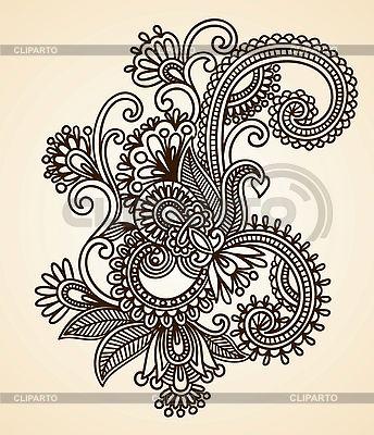 헤나 꽃 디자인 | 벡터 클립 아트 |ID 3094932