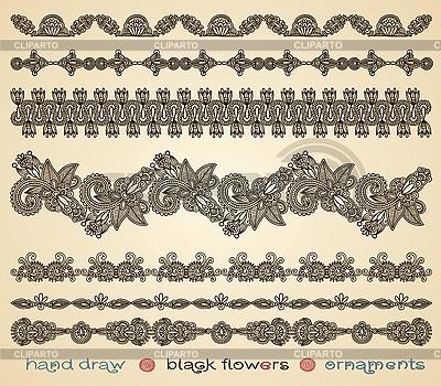 Czarne kwiaty ozdoby | Klipart wektorowy |ID 3095447