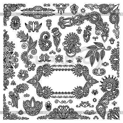 Schwarze Blumenmuster und Rahmen | Stock Vektorgrafik |ID 3095604