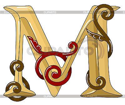 Ozdobnych średniowieczny początkowe litery M | Klipart wektorowy |ID 3099046