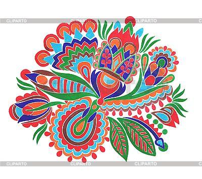 우크라이나어 전통적인 꽃 장식   벡터 클립 아트  ID 3100229