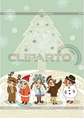 크리스마스 트리와 멋진 드레스 어린이 | 벡터 클립 아트 |ID 3101326