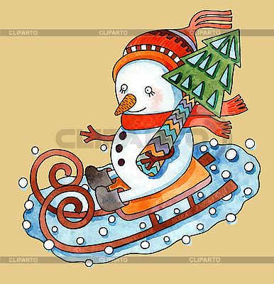 Snowman with christmas tree in sledges | Stock Vector Graphics |ID 3101416