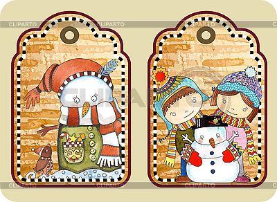 Weihnachts-Etikette mit glücklichem Schneemann | Stock Vektorgrafik |ID 3101449