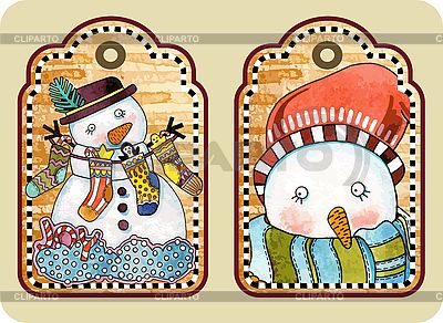 Christmas tags with happy snowman  | Stock Vector Graphics |ID 3101451