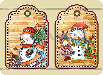 Christmas tags with happy snowmen    Stock Vector Graphics  ID 3101453