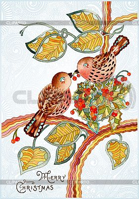 Ornate vintage christmas card with birds | Stock Vector Graphics |ID 3101599