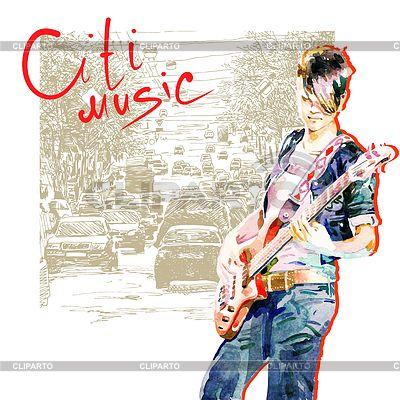 城市的十几岁的女孩弹吉他 | 向量插图 |ID 3271484