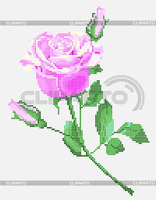 Pink Rose, tradycyjne elementy ukraińskiego haftu | Klipart wektorowy |ID 3273599