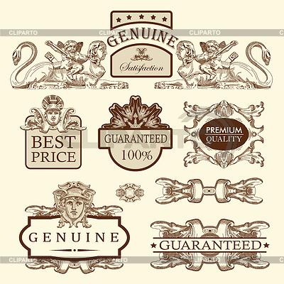 Изящные этикетки премиум-качества и гарантии | Векторный клипарт |ID 3294935