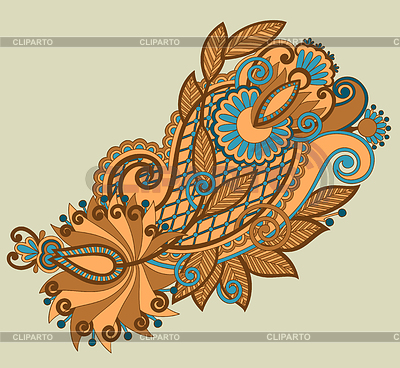 원래 손 그리기 라인 아트 화려한 꽃 디자인   벡터 클립 아트  ID 3295509