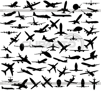 Silhouettes of airplanes | Stock Vector Graphics |ID 3093748