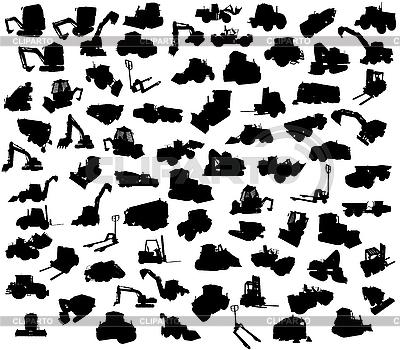 Silhouetten von Strassenbaumaschinen | Stock Vektorgrafik |ID 3093758