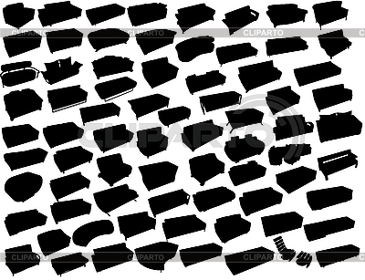 Silhouetten von Sofas | Stock Vektorgrafik |ID 3093762