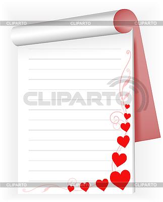 Notizbuch mit Herzen | Stock Vektorgrafik |ID 3095883
