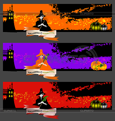 Halloween-Banner mit Hezen | Stock Vektorgrafik |ID 3124507