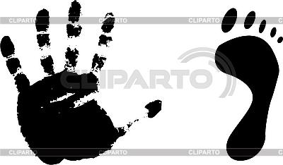 Czarne odciski stóp i dłoni | Klipart wektorowy |ID 3095745
