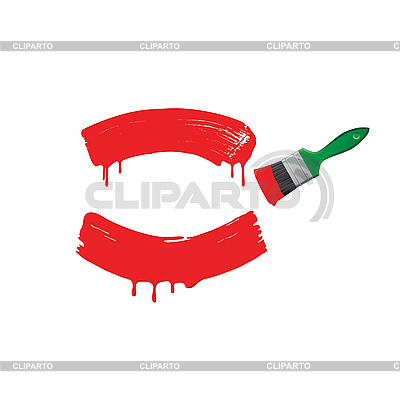 Czerwona farba i zielona szczotka | Klipart wektorowy |ID 3170518