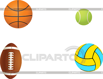 Tennis, football, basketball and volleyball | Stock Vector Graphics |ID 3179493