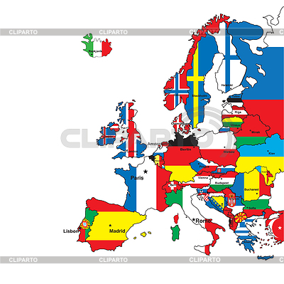 Karta Europy w kolorów flagi   Klipart wektorowy  ID 3225746