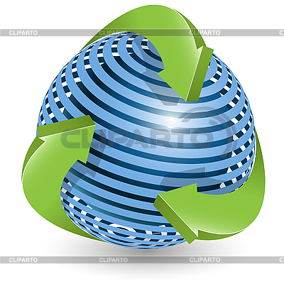 Blue ball and green arrows | Stock Vector Graphics |ID 3095997