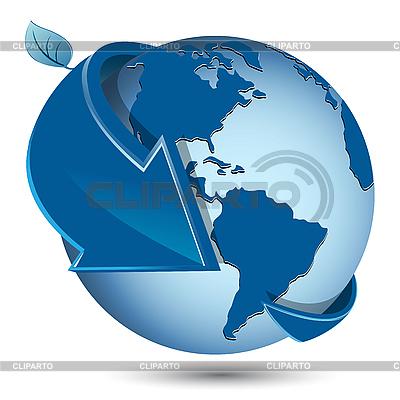 Blue globe with arrow | Stock Vector Graphics |ID 3096013