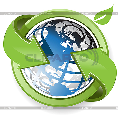 Blue globe and green arrows | Stock Vector Graphics |ID 3096015