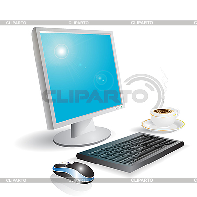 Computer and coffee   Stock Vector Graphics  ID 3096194