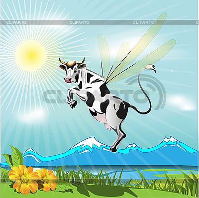 Fliegende Kuh | Stock Vektorgrafik |ID 3096203