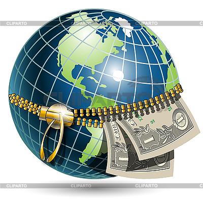 Globe and dollars | Stock Vector Graphics |ID 3096406