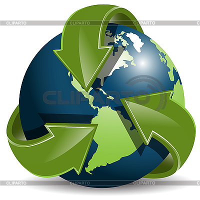 Globe and green arrows   Stock Vector Graphics  ID 3096842