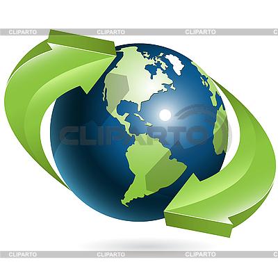 全球和绿色箭头 | 向量插图 |ID 3096844