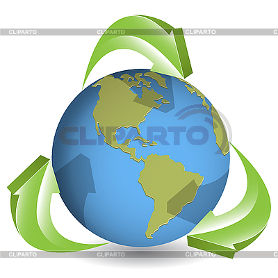 Globe and green arrows | Stock Vector Graphics |ID 3096846