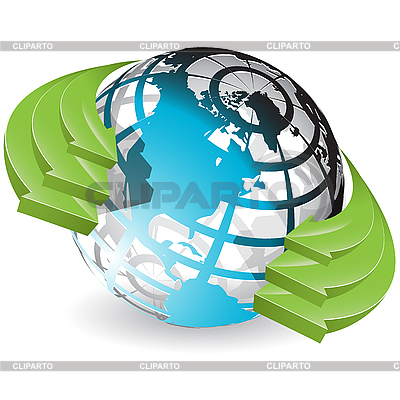 Globe and green arrows | Stock Vector Graphics |ID 3096866