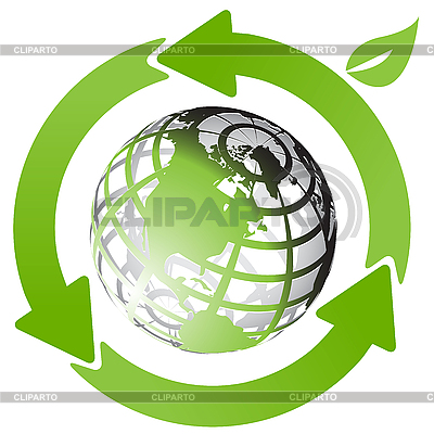 Globe and green arrows | Stock Vector Graphics |ID 3096868