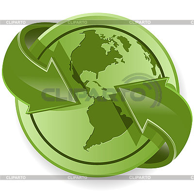 Globe and green arrows | Stock Vector Graphics |ID 3096870
