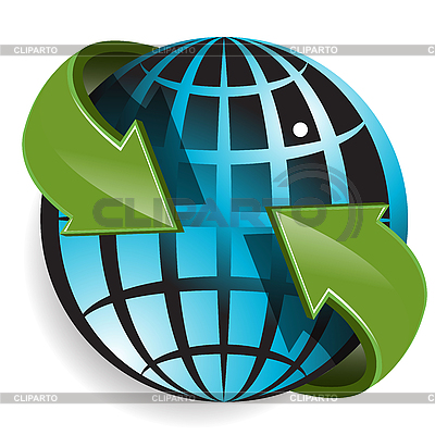 Globe and green arrows   Stock Vector Graphics  ID 3096872