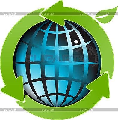 Globus i zielone strzałki | Klipart wektorowy |ID 3096876