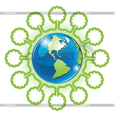 地球和树 | 向量插图 |ID 3099458